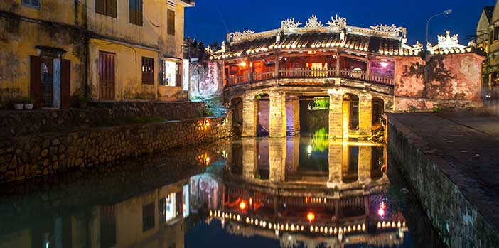 Japanese bridge at night Hoi An Ancient Town